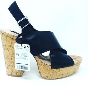 MNG Black Leather Platform Heels